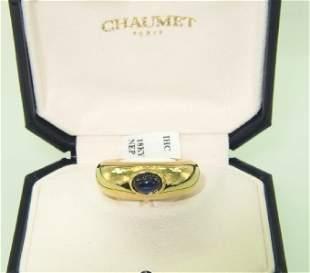 Chaumet Paris 18K Yellow Gold Cabochon Sapphire Rin