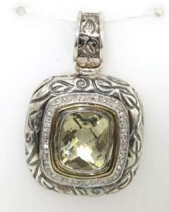 Silver/14K Yellow Gold Diamond & Lemon Citrine Pend