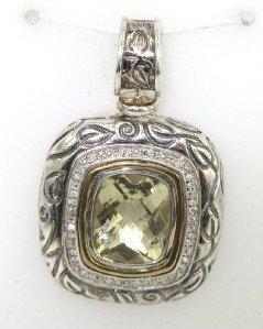 18: Silver/14K Yellow Gold Diamond & Lemon Citrine Pend