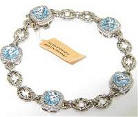 57: Charles Krypell Gold Silver Blue Topaz Diamond Brac