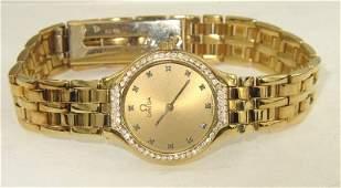 113: Omega 18K Yellow Gold Diamond Wrist Watch
