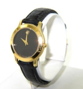 13: Movado Stainless Steel Leather Strap Watch