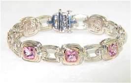 296: Charles Krypell 14K Gold/Silver Pink Topaz Bracele