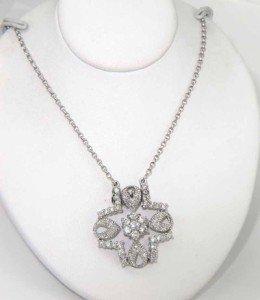 12A: 18K White Gold Diamond Necklace