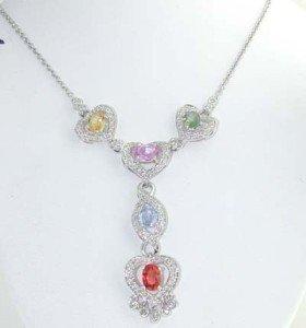 17A: 18K White Gold Diamond & Multi-color Stone Necklac