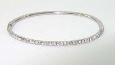 4A: Tiffany & Co 18K White Gold Diamond Bangle