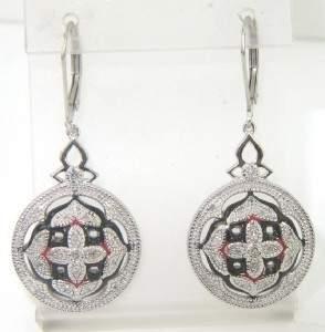 Silver Diamond And Enamel Earrings