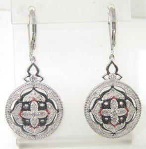13A: Silver Diamond And Enamel Earrings