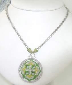 Silver Enamel & Diamond Necklace