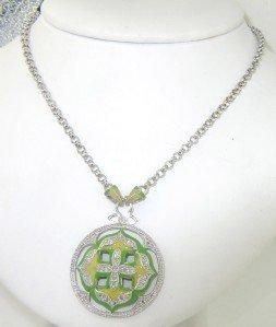6A: Silver Enamel & Diamond Necklace