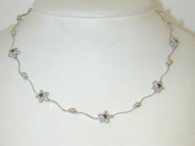 1: 14K White Gold Diamond & Sapphire Necklace