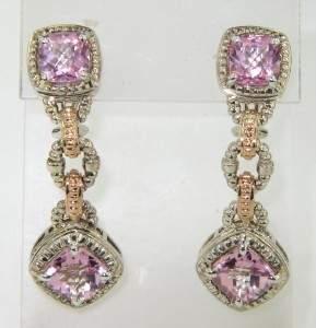 Charles Krypell 14K Gold/Silver Pink Topaz Earrings