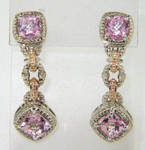 1: Charles Krypell 14K Gold/Silver Pink Topaz Earrings
