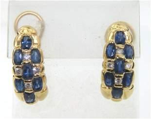 14K Yellow Gold, Diamond & Sapphire Earrings