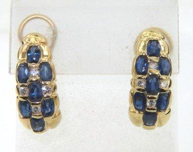 7: 14K Yellow Gold, Diamond & Sapphire Earrings