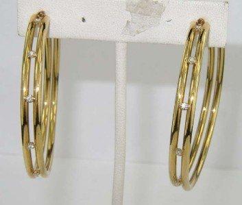 11: Faraone Mennella 18K Yellow Gold Diamond Hoop Earri
