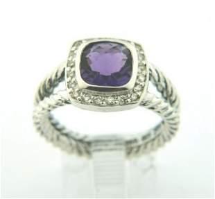 David Yurman Silver, Amethyst & Diamond Ring.