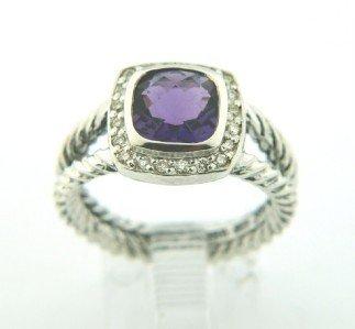 12: David Yurman Silver, Amethyst & Diamond Ring.