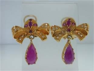 18K Yellow Gold Ruby, Diamond Earrings