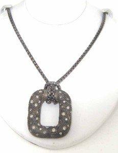 20: David Yurman Silver Diamond Midnight Melange Neckla