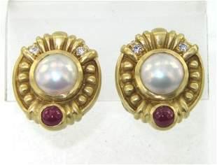 Judith Ripka 18K Gold, Pearl, Diamond & Ruby Earrin