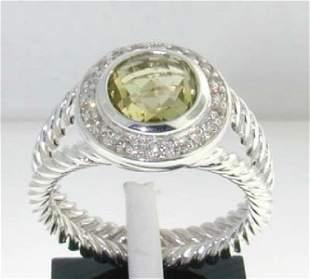 David Yurman Silver Lemon Citrine Diamond Ring