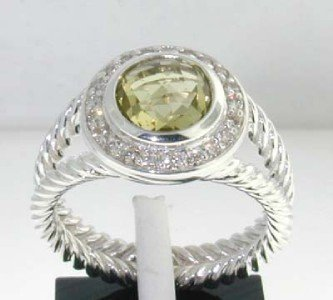 24: David Yurman  Silver Lemon Citrine Diamond Ring
