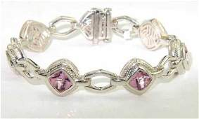 69: Charles Krypell 14K Gold/Silver Pink Topaz Bracelet