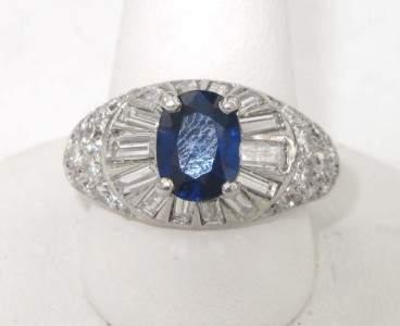 168: Van Cleef & Arpels Platinum Diamond,Sapphire Ring