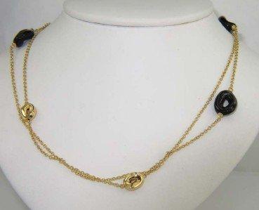 17: Faraone Mennella 18K Yellow Gold Onyx Necklace