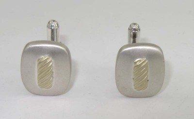 5: David Yurman Silver/ 18K Yellow Gold Cufflinks
