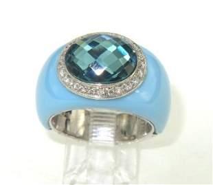 Silver Diamond, Enamel & Blue Topaz Ring