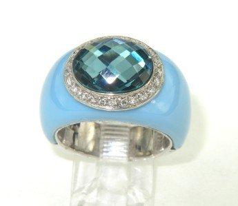 18: Silver Diamond, Enamel & Blue Topaz Ring