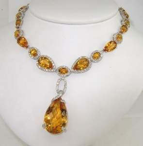 420: Salavetti 18K White Gold Diamond Citrine Necklace