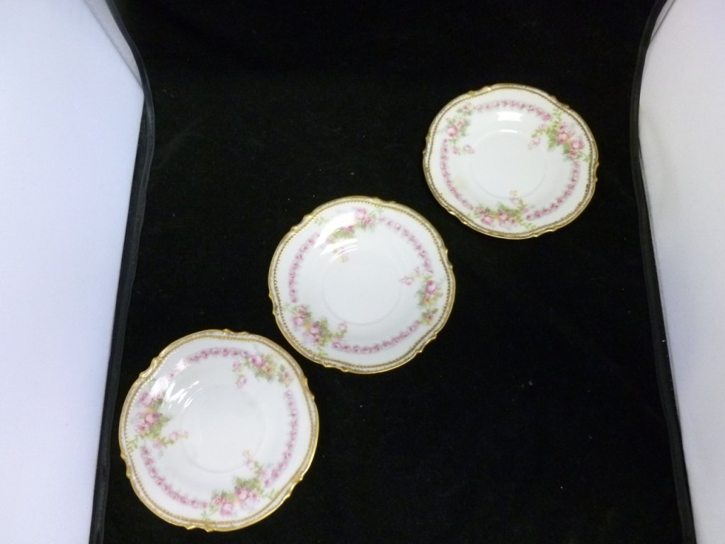 French Limoge saucers with pink roses and detailed gold