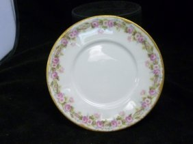 French Limoge Saucers with Pink Roses