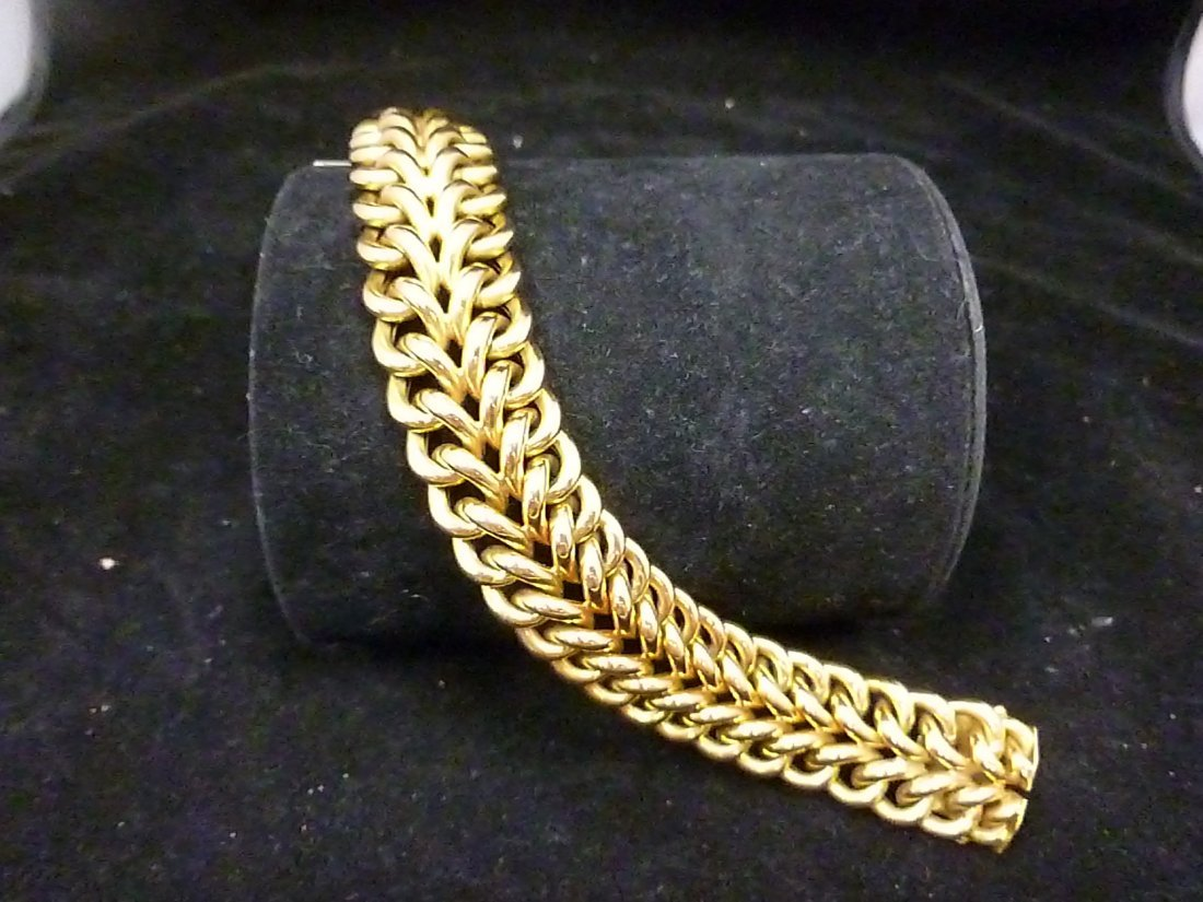 18K gold double chain connected bracelet