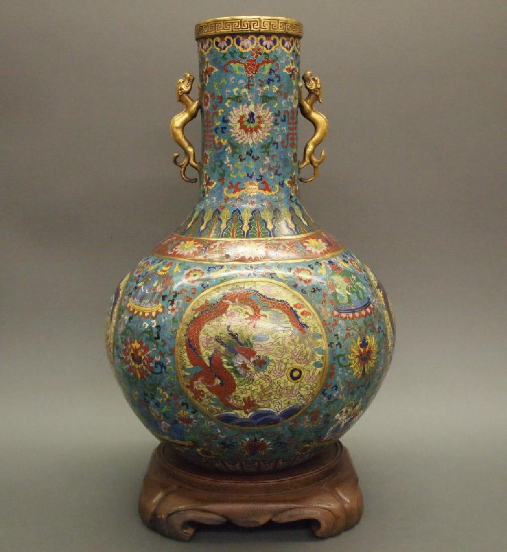 Chinese cloisonne dragon vase
