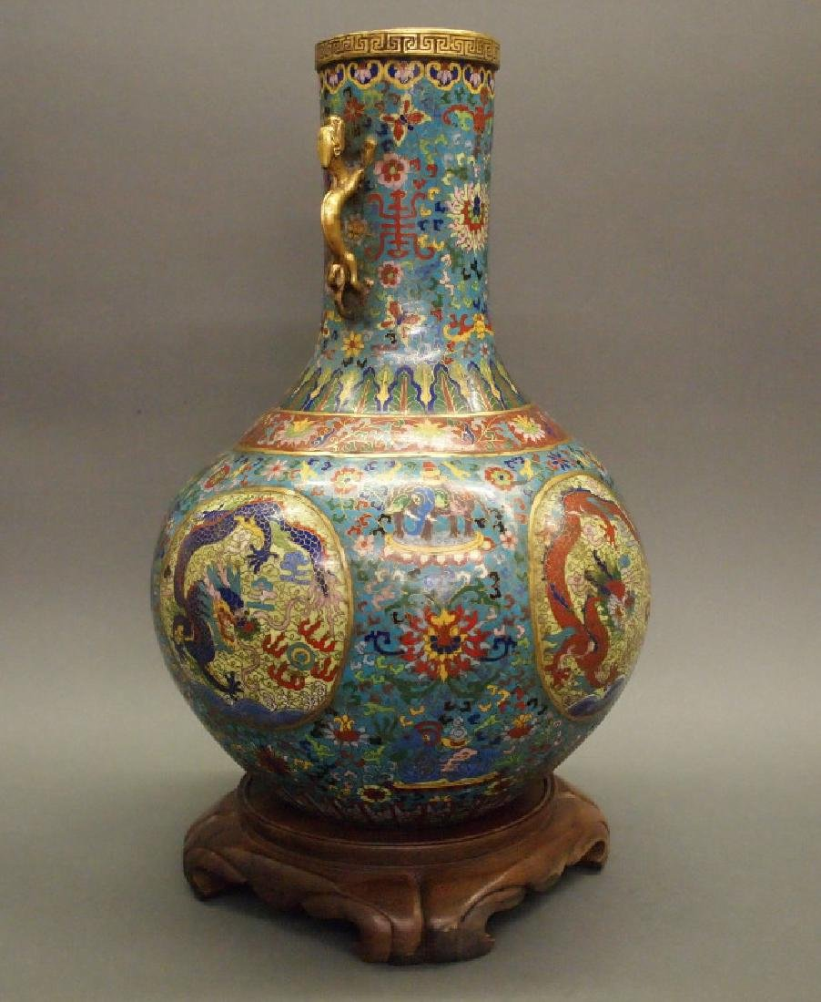 Chinese cloisonne dragon vase - 2