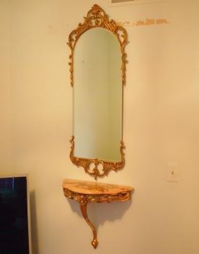 Italian gilt mirror and console