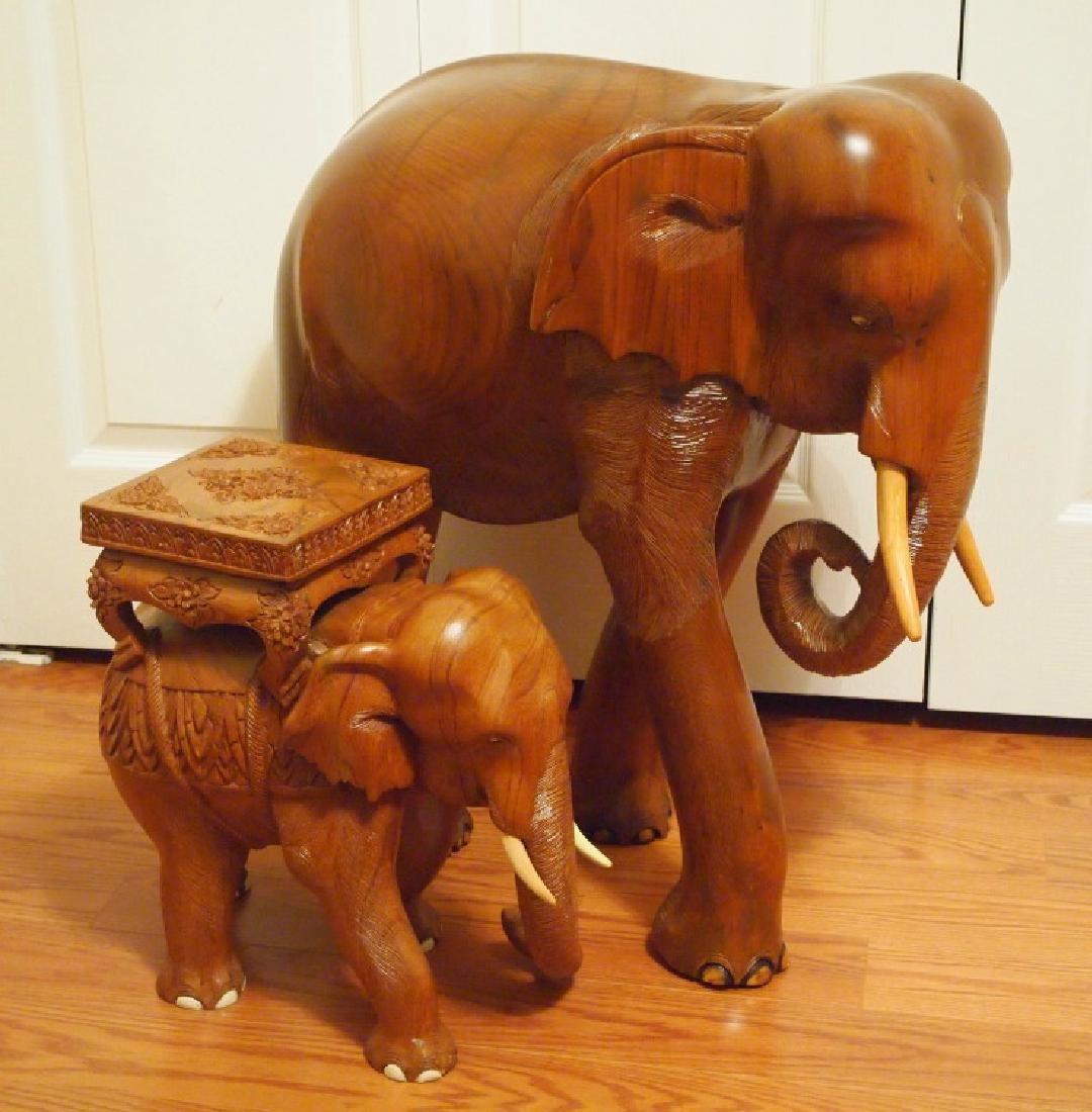 2 Indonesian wood elephants