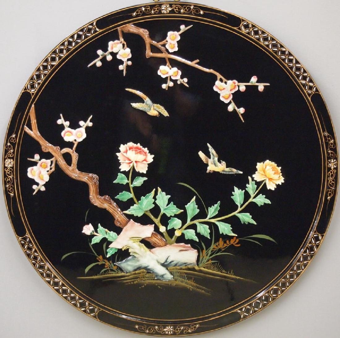 Chinese lacquer panel, garden