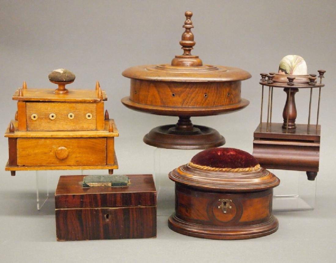 5 antique spool caddys/sewing boxes