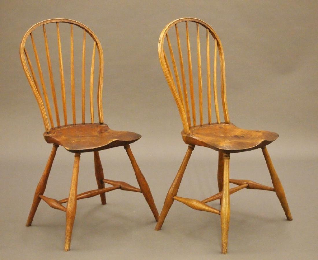 Pr of New England bow back Windsor side chairs