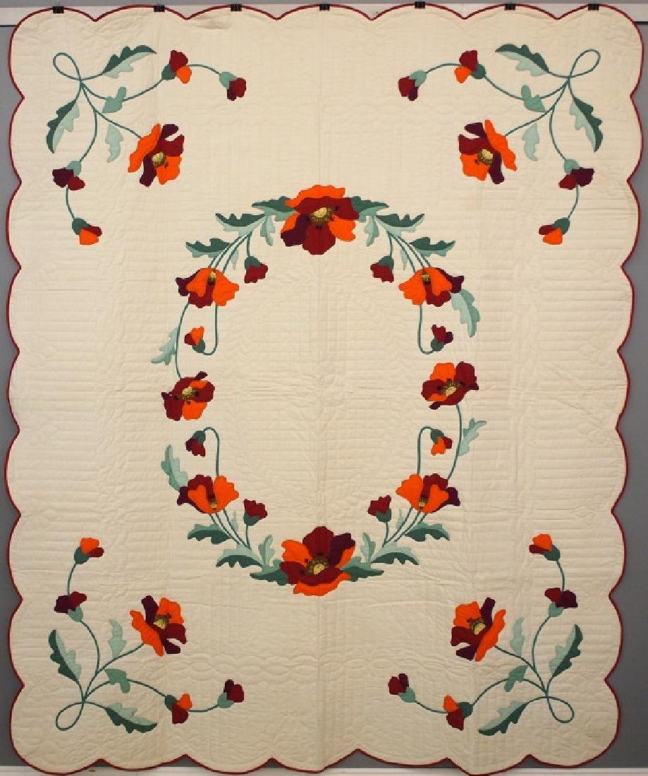 Poppy applique quilt