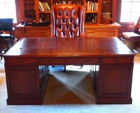 Partner's desk with leather chair
