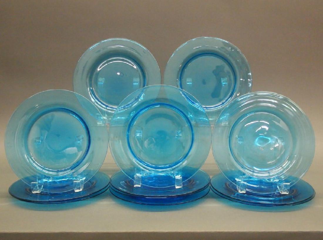 12 Steuben Celeste Blue plates