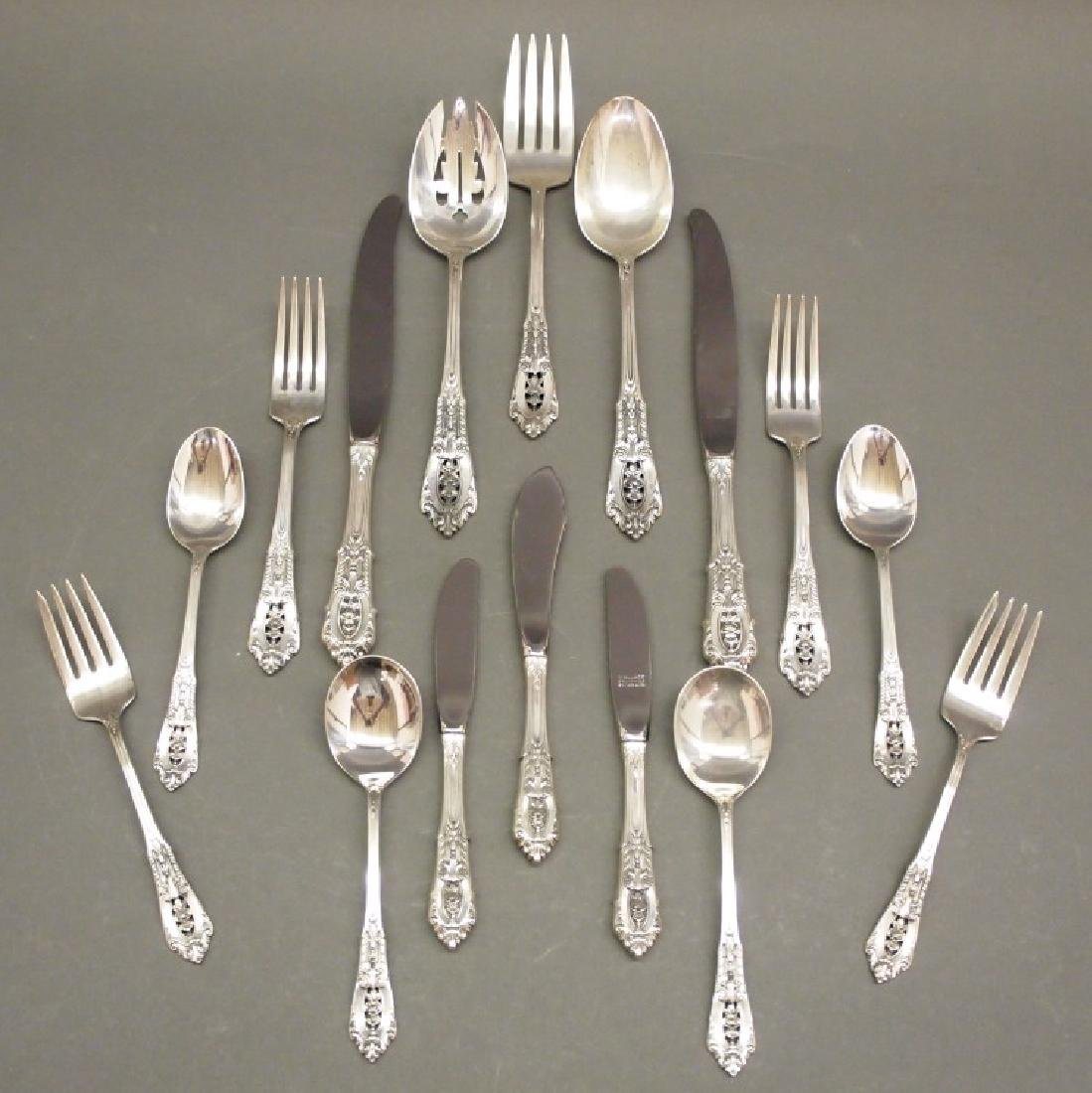"""49 pcs Wallace """"Rose Point"""" Sterling Flatware"""