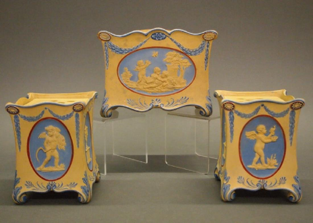 Wedgwood Encaustic Caneware garniture