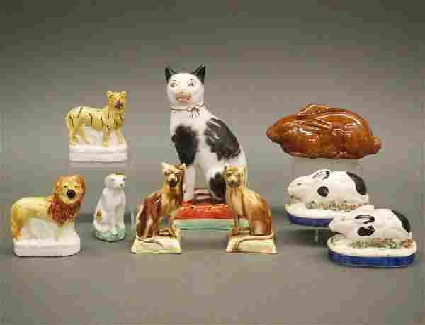 9 pcs Staffordshire animals